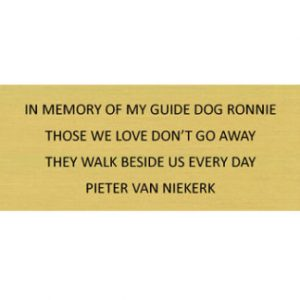 South African Guide-Dogs Association For The Blind In Memory Plaque