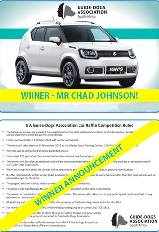 South African Guide-Dogs Association For The Blind Car Raffle Winner 2018